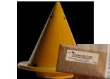 lampe merlin jaune et bois de cade
